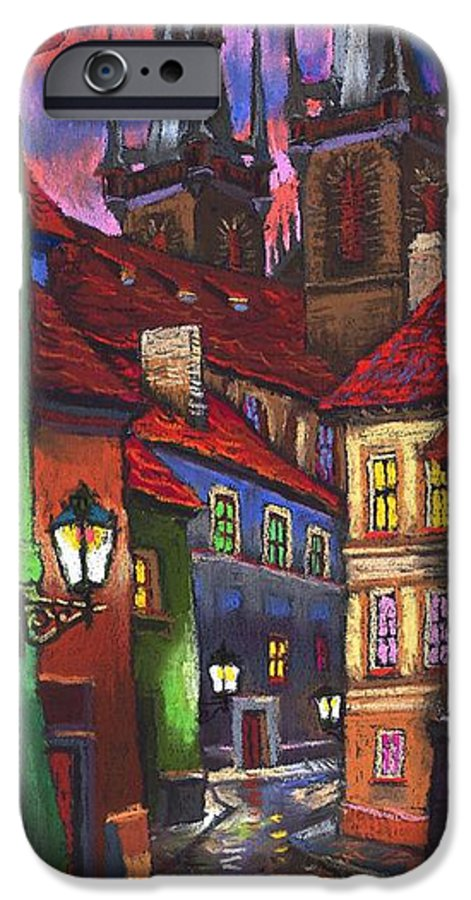 Pastel IPhone 6 Case featuring the painting Prague Old Street 01 by Yuriy Shevchuk