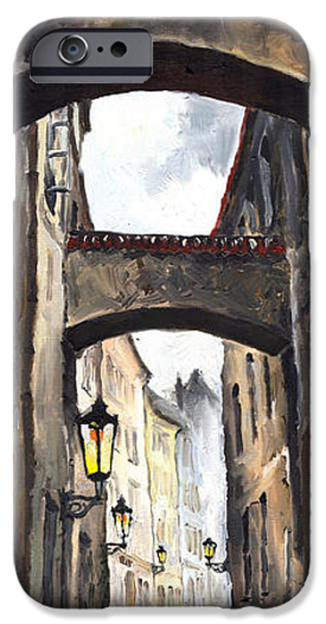 Oil On Canvas Paintings IPhone 6 Case featuring the painting Prague Old Street 02 by Yuriy Shevchuk