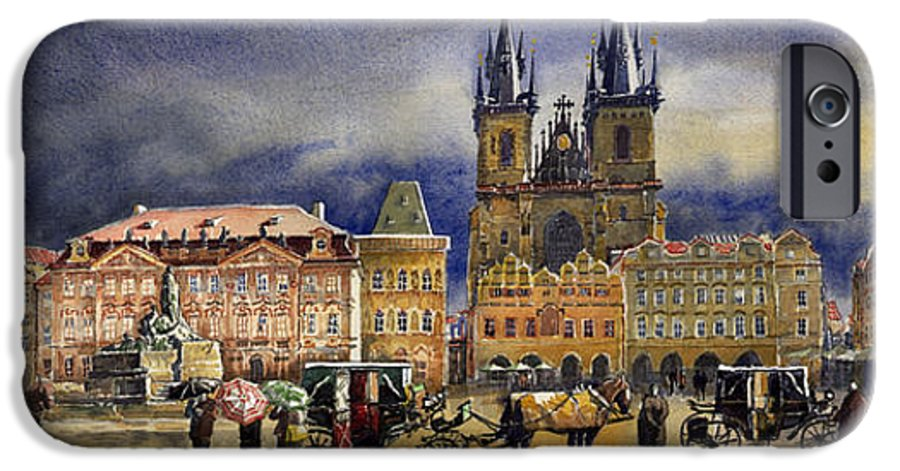 Watercolor IPhone 6 Case featuring the painting Prague Old Town Squere After Rain by Yuriy Shevchuk
