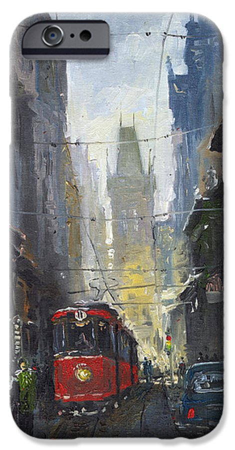 Oil On Canvas Paintings IPhone 6 Case featuring the painting Prague Old Tram 05 by Yuriy Shevchuk