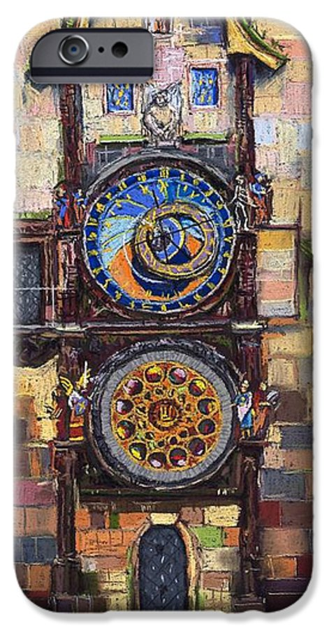 Cityscape IPhone 6 Case featuring the painting Prague The Horologue At Oldtownhall by Yuriy Shevchuk