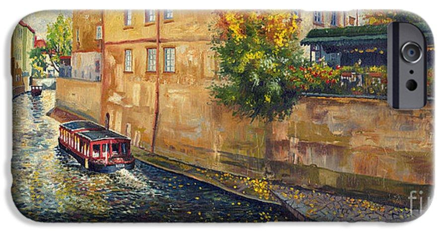 Oil.prague IPhone 6 Case featuring the painting Prague Venice Chertovka 2 by Yuriy Shevchuk