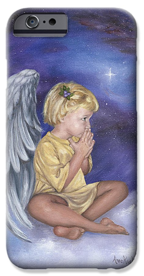 Christmas IPhone 6 Case featuring the painting Praying Angel by Anne Kushnick