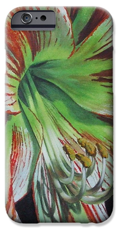 Amaryllis IPhone 6 Case featuring the painting Precious by Barbara Keith