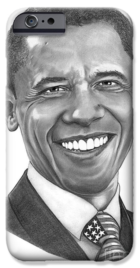 Drawing IPhone 6 Case featuring the drawing President Barack Obama By Murphy Art. Elliott by Murphy Elliott