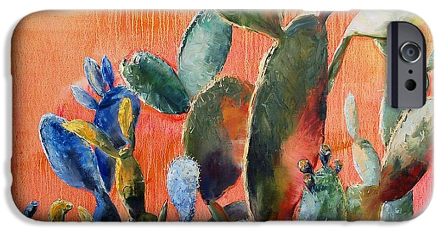 Cactus IPhone 6 Case featuring the painting Prickly Pear by Lynee Sapere