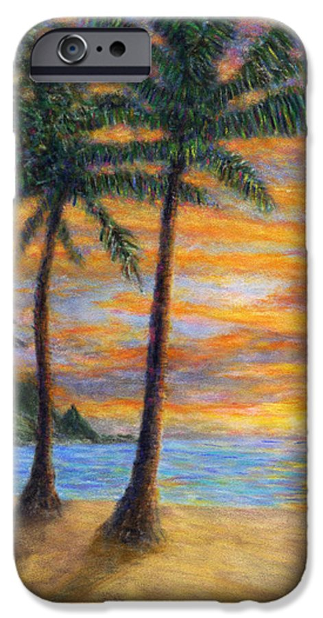 Coastal Decor IPhone 6 Case featuring the painting Princeville Beach Palms by Kenneth Grzesik