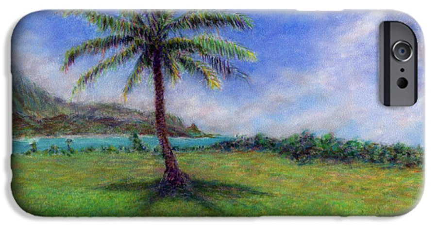 Rainbow Colors Pastel IPhone 6 Case featuring the painting Princeville Palm by Kenneth Grzesik
