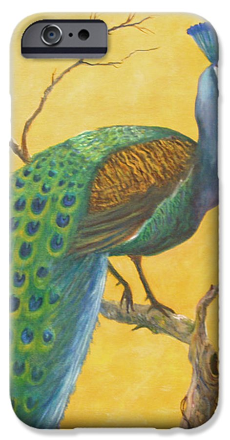 Peacock; Birds; Fall Leaves IPhone 6 Case featuring the painting Proud As A Peacock by Ben Kiger