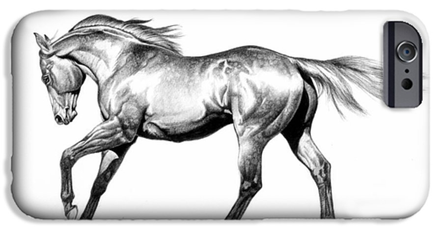 Thoroughbred IPhone 6 Case featuring the drawing Proud by Howard Dubois