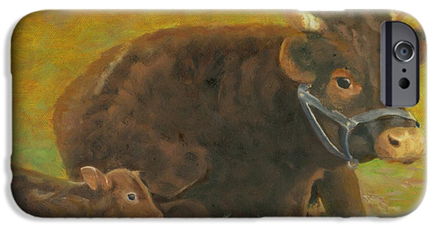 Cow Calf Bull Farmscene IPhone 6 Case featuring the painting Proud Pappa by Paula Emery