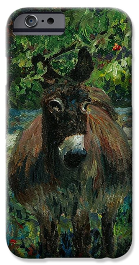 Donkey IPhone 6 Case featuring the painting Provence Donkey by Nadine Rippelmeyer