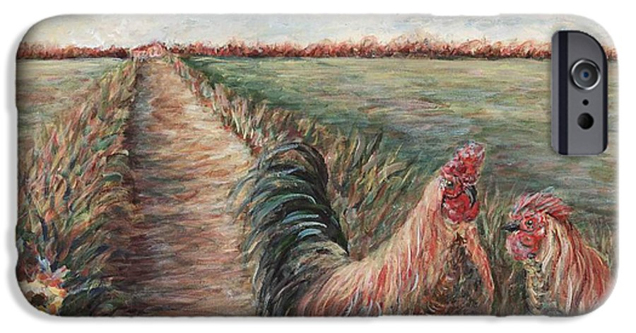 Provence IPhone 6 Case featuring the painting Provence Roosters by Nadine Rippelmeyer