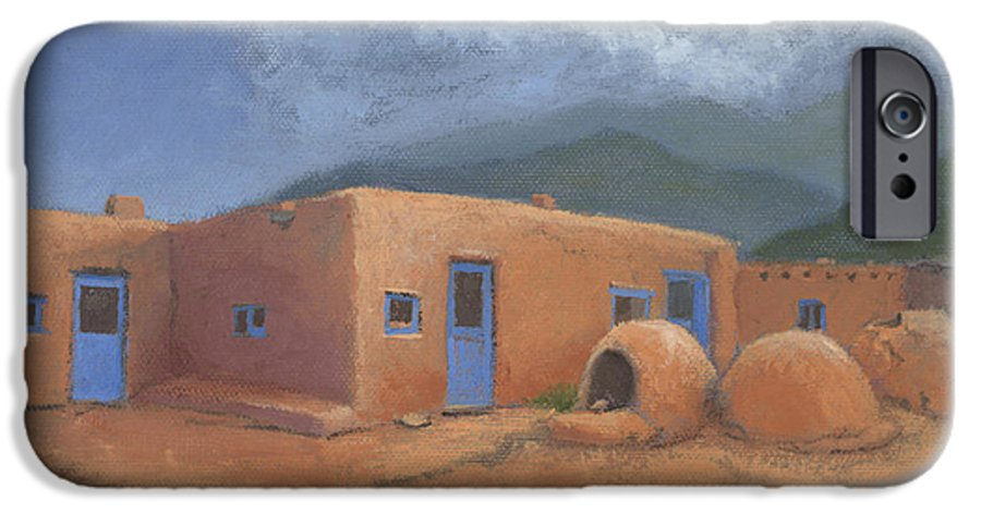 Taos IPhone 6 Case featuring the painting Puertas Azul by Jerry McElroy