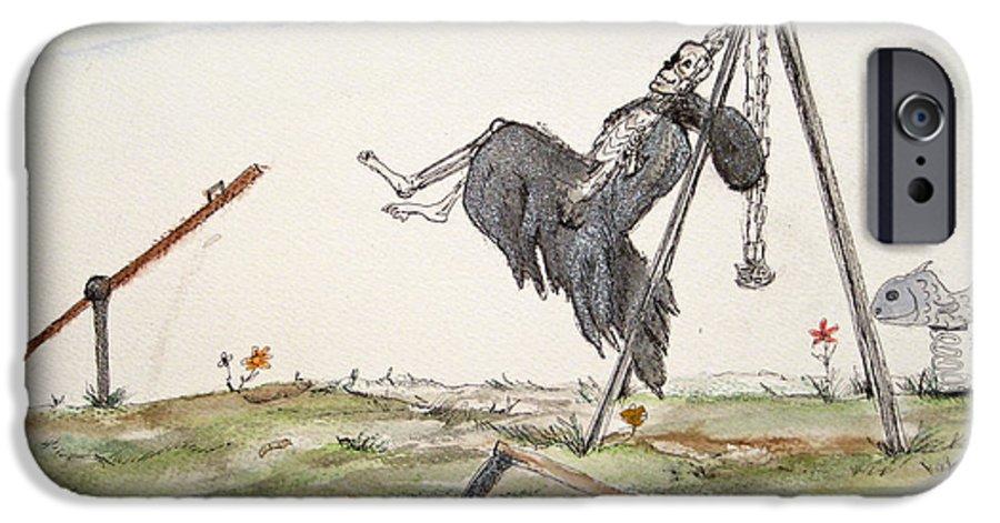 Darkestartist Death Humor Ink Playground Swing Watercolor Watercolour Darkest Artist Pump Harder Seesaw IPhone 6 Case featuring the painting Pump Harder Youll Get There by Darkest Artist