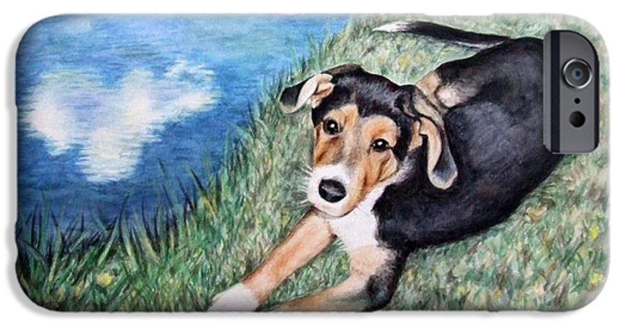 Dog IPhone 6 Case featuring the painting Puppy Max by Nicole Zeug