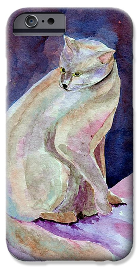 Cat IPhone 6 Case featuring the painting Purple Cat by Susan Kubes