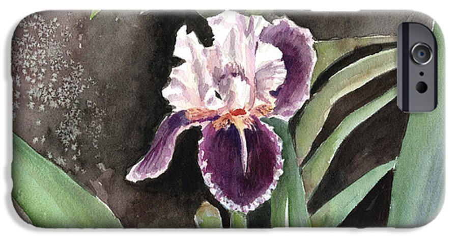 Flower IPhone 6 Case featuring the painting Purple Iris by Arline Wagner