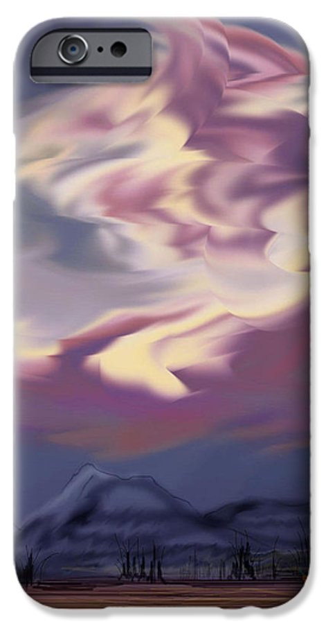 Clouds IPhone 6 Case featuring the painting Purple Mountain Majesty by Anne Norskog