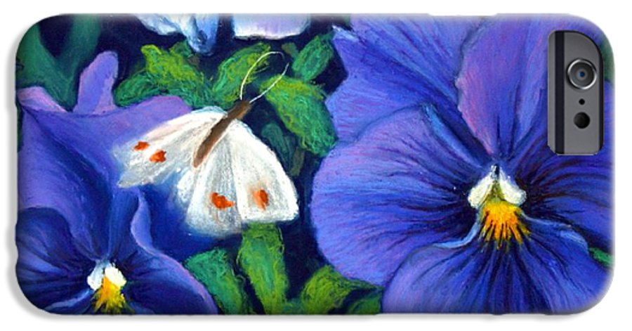 Pansy IPhone 6 Case featuring the painting Purple Pansies And White Moth by Minaz Jantz