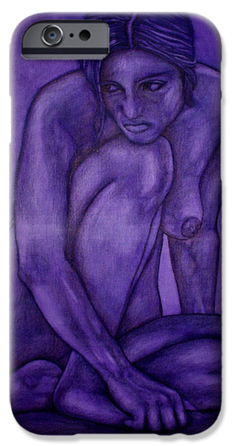Nude Women IPhone 6 Case featuring the painting Purple by Thomas Valentine