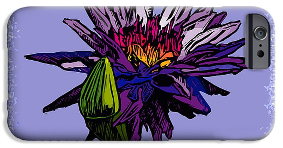 Water Lily IPhone 6 Case featuring the drawing Purple Water Lily by John Lautermilch
