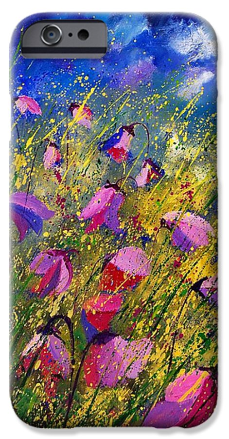 Poppies IPhone 6 Case featuring the painting Purple Wild Flowers by Pol Ledent