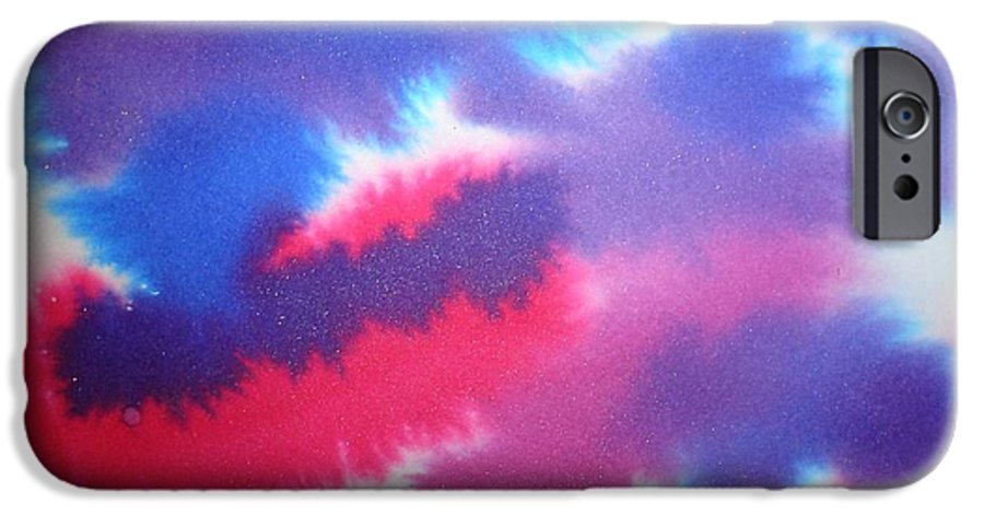 Abstract IPhone 6 Case featuring the painting Purple Wisp by Chandelle Hazen