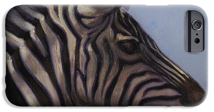 Zebra IPhone 6 Case featuring the painting Quiet Profile by Greg Neal