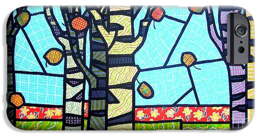 Birch Trees IPhone 6 Case featuring the painting Quilted Birch Garden by Jim Harris