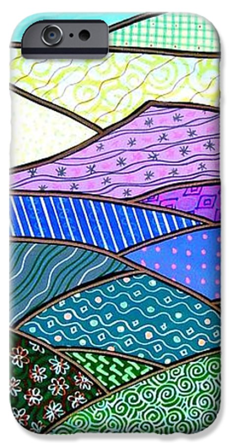 Mountain IPhone 6 Case featuring the painting Quilted Mountain by Jim Harris