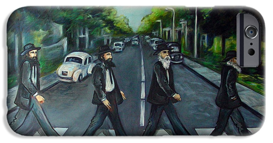 Surreal IPhone 6 Case featuring the painting Rabbi Road by Valerie Vescovi