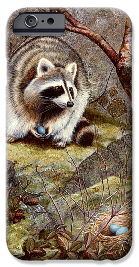 Raccoon Found Treasure IPhone 6 Case featuring the painting Raccoon Found Treasure by Frank Wilson