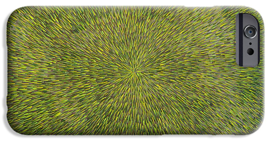 Abstract IPhone 6 Case featuring the painting Radiation With Green With Yellow by Dean Triolo