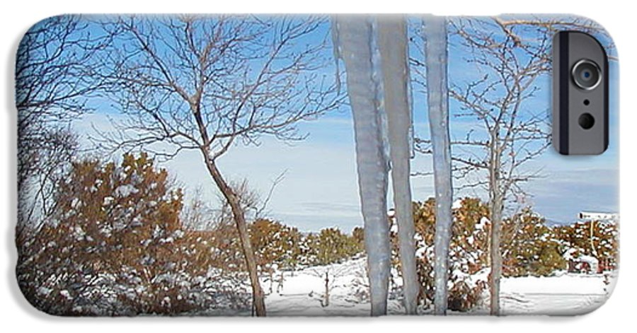 Icicle IPhone 6 Case featuring the photograph Rain Barrel Icicle by Diana Dearen