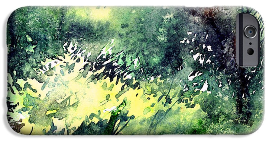 Landscape Watercolor Nature Greenery Rain IPhone 6 Case featuring the painting Rain Gloss by Anil Nene