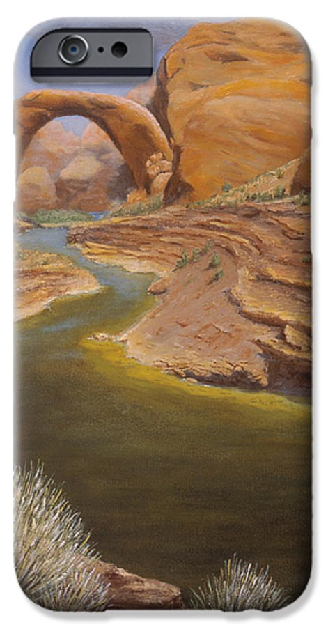 Rainbow Bridge IPhone 6 Case featuring the painting Rainbow Bridge by Jerry McElroy
