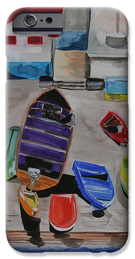 Boats IPhone 6 Case featuring the painting Rainbow On The Dock by Jean Blackmer