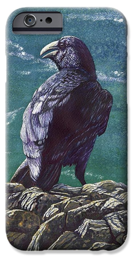 Bird IPhone 6 Case featuring the painting Raven by Catherine G McElroy