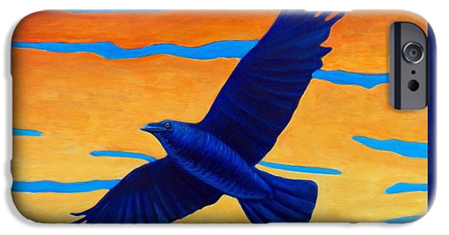 Raven IPhone 6 Case featuring the painting Raven Rising by Brian Commerford