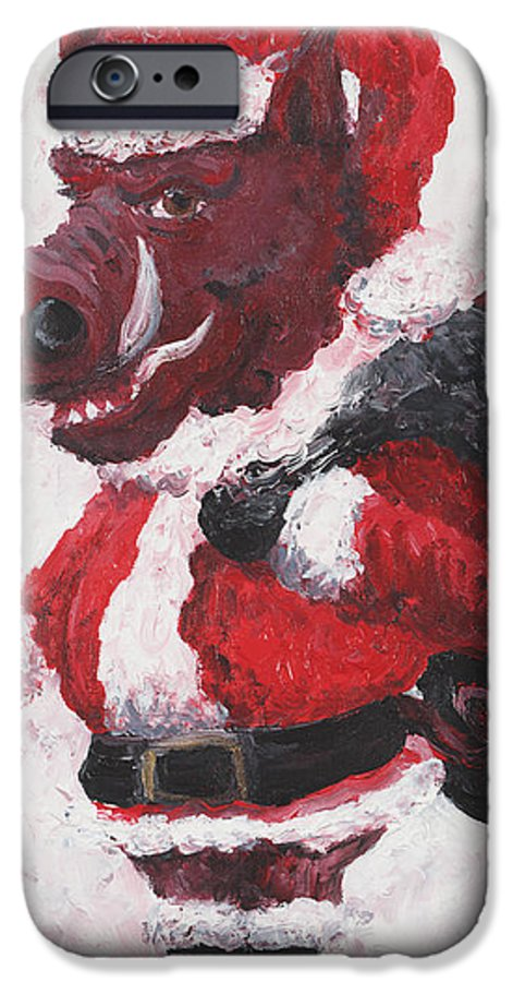 Santa IPhone 6 Case featuring the painting Razorback Santa by Nadine Rippelmeyer