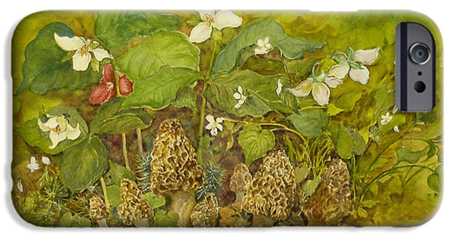Mushrooms;trillium;spring;violets;woods;woodland;morels;watercolor Painting; IPhone 6 Case featuring the painting Ready For Pickin' by Lois Mountz