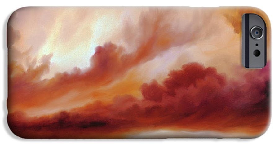 Skyscape IPhone 6 Case featuring the painting Receding Storm Sketch IIi by James Christopher Hill