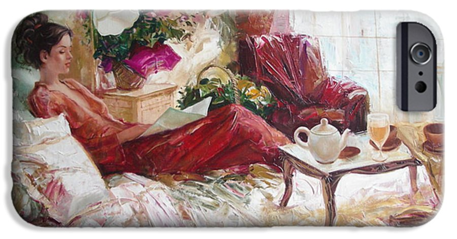 Art IPhone 6 Case featuring the painting Recent News by Sergey Ignatenko