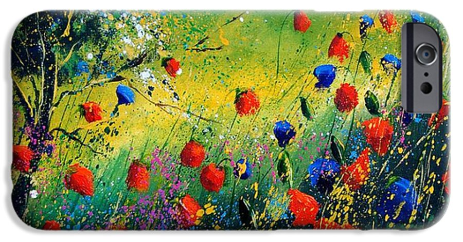 Flowers IPhone 6 Case featuring the painting Red And Blue Poppies by Pol Ledent