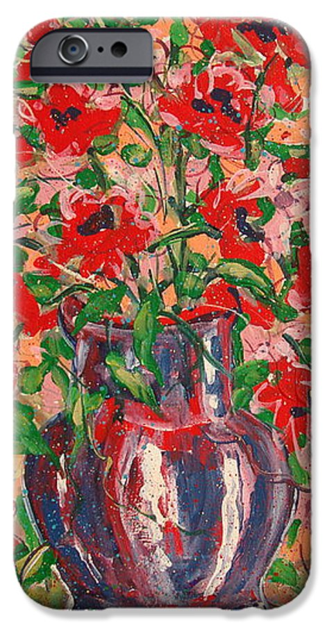 Flowers IPhone 6 Case featuring the painting Red And Pink Poppies. by Leonard Holland
