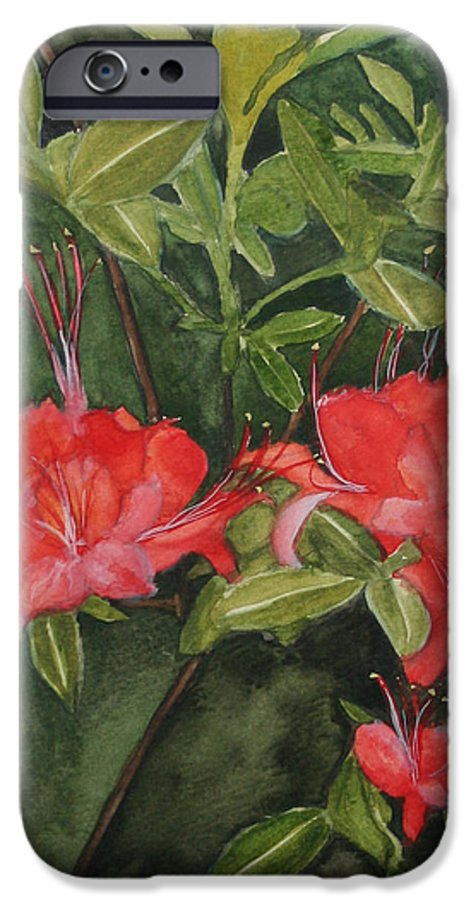 Flowers IPhone 6 Case featuring the painting Red Blooms On The Parkway by Jean Blackmer