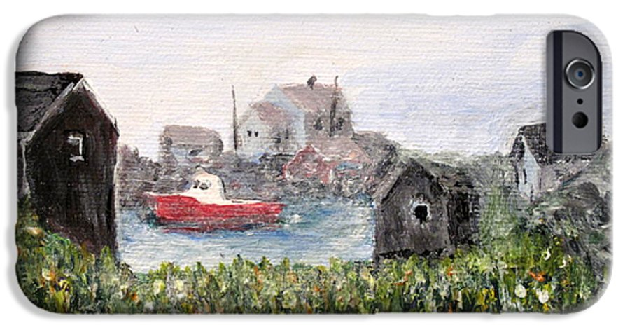 Red Boat IPhone 6 Case featuring the painting Red Boat In Peggys Cove Nova Scotia by Ian MacDonald
