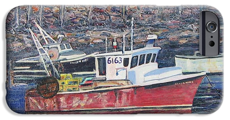 Boat IPhone 6 Case featuring the painting Red Boat Reflections by Richard Nowak