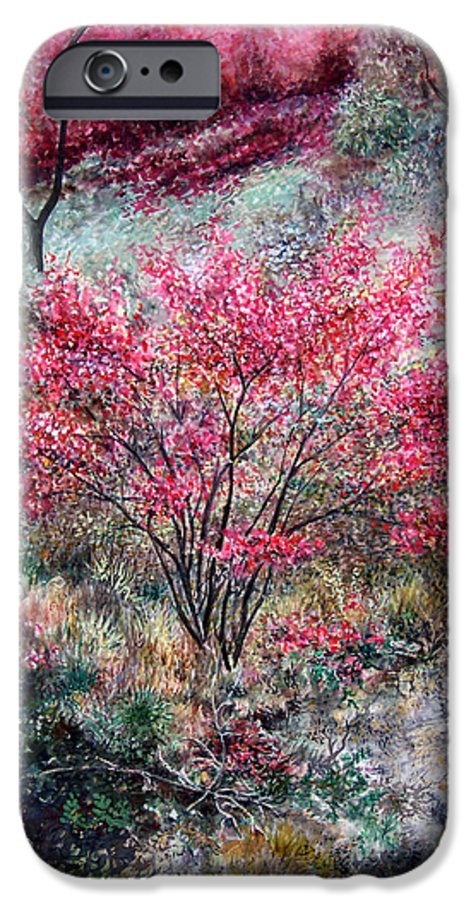 Landscape IPhone 6 Case featuring the painting Red Bush by Valerie Meotti